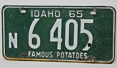 1965 IDAHO License Plate Collectible Antique Vintage N 6-405 Famous Potatoes