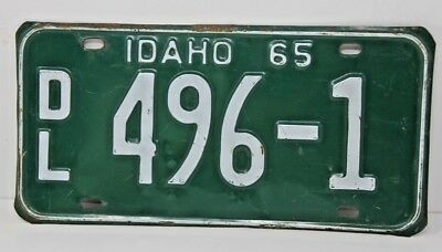 1965 IDAHO License Plate Collectible Antique Vintage Rare Dealer DL 496-1