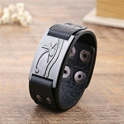 NEW Egyptian Amulet Pagan Eye Of Horus Ra Thoth Udjat Leather Cuff Bracelet