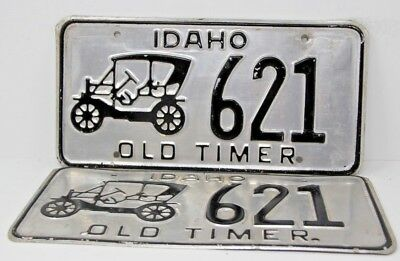 IDAHO Old Timer License Plate Collectible Antique Vintage Matching Pair Set 621