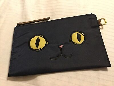 Long Champ MIAOU Pouch Bag In Navy Blue