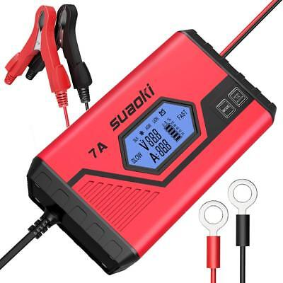Suaoki 7A Fast Car Battery Charger Maintainer Ultra-Safe Smart 9-Stage Automatic