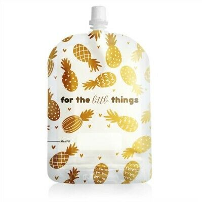 Sinchies 150ml Reusable Food Pouches Top Spout BPA Free 1/5/10 Pack Pineapple
