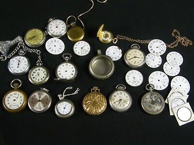 Vintage Pocket watch Stopwatch Parts lot Long Branch Waltham Andre Rivalle....++