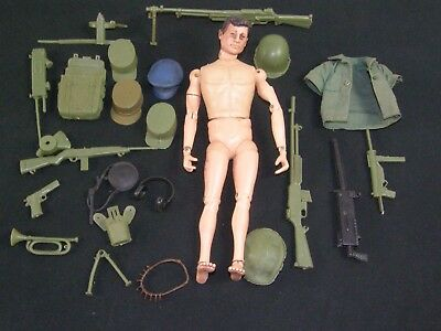Vintage copyright 1964 GI Joe Action Figure w/ Accessories Guns hats Marine Army