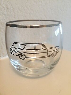 1960's Chevy Dealer Promotional Chevrolet Drinking Glass Etched Station Wagon