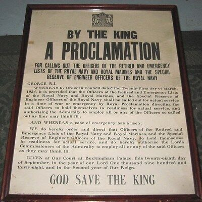 1938 Wwii Broadside By The King A Proclamation Call Out Navy Retired Officers