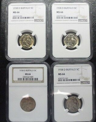 1938-D Buffalo Nickel Ngc Ms 66