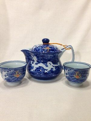 Vintage Asian Moriage Dragon/Flaming Pearl/Porcelain Teapot & Cups/Signed