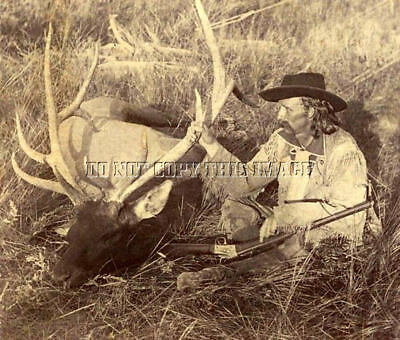 Antique Repro 8X10 Photo General George A Custer Elk Hunting Remington Rifle