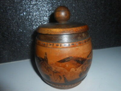 Vintage Carved Solid Wood Lidded Pot ( VILAGE IMAGE ) - PERFECT
