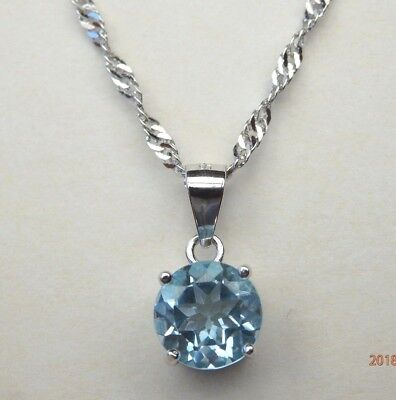 Solid 925 Sterling Silver Natural Sky Blue Topaz Pendant Necklace Chain