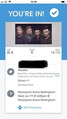 Westlife Twenty Tour x2 Tickets Motorpoint Arena Nottingham 19th June 6.00pm