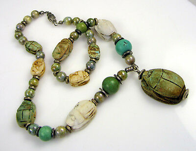 Estate Stunning Vintage Bold Carved Scarab Hieroglyphics Colorful Stone Necklace