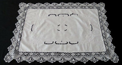 Vintage Linen - White Embroidered Table Runner With Lace Edging - Large Doily -