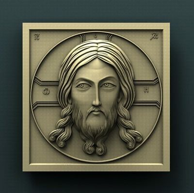"""3D STL Model Relief for CNC Router Aspire Artcam - """"Classic icon with Jesus"""""""