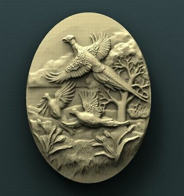 """3D STL Model Relief for CNC Router Aspire Artcam - """"The Pack of Pheasants"""""""
