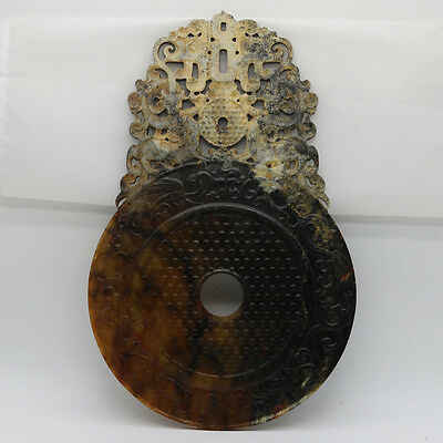 Chinese hand carved jade brown openwork Disc with grains Chi dragon phoenix D40