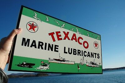 Old Style Texaco Marine Gas & OilThick Steel Sign Usa Made Mint
