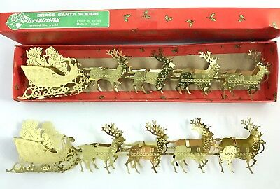 Set 2 Brass Santa Sleigh Santa Claus Reindeer Decoration Vtg MCM Original Box