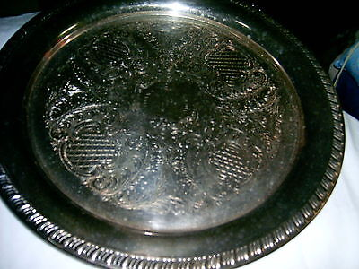 Platter - Silverplated Large Tray - Etched - Round Shape