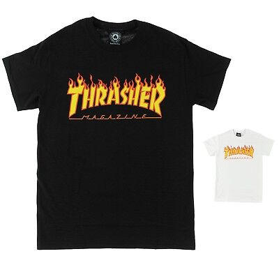 68a6a41739d1 Thrasher Flame Logo Tee - Black or White T-shirt - Authentic Magazine Tee-