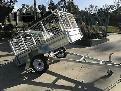 7x4 Box Trailer Heavy Duty Galvanised Single Axle | 2ft cage | Full Checkerplate
