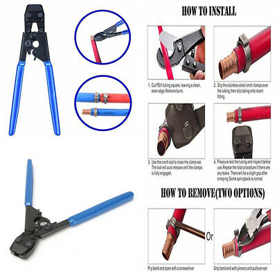 "PEX Clamp Cinch Pinch Crimp Crimper Repair Tool for 3/8"" to 1"" St. Steel Clamps"