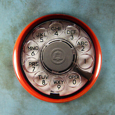 "Vintage Style Telephone Rotary Dial Printed Fridge Magnet 2 1/4"" Pac Bell Orange"