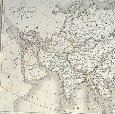 CARD D'ASIE EMPIRE CHINA circa 1820 Engraved Thierry 60x43cm MAP ASIA