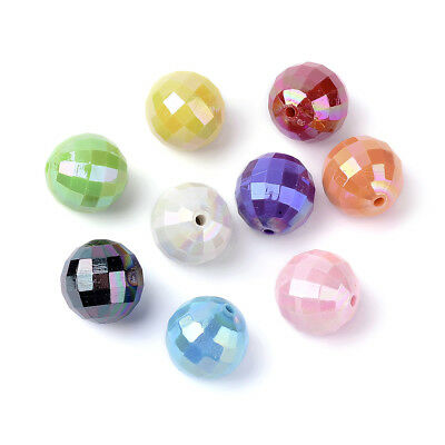 500g Colorful Opaque Acrylic Beads Faceted Chunky Bubblegum Ball Big Spacer 20mm