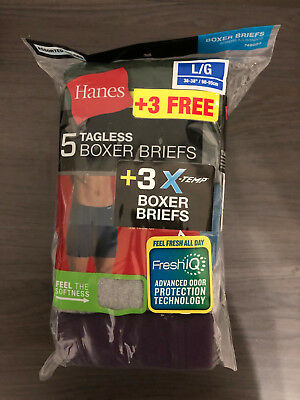Hanes Men's Tagless Boxer Briefs 8 PACK SIZE L Black / Gray NEW Cotton FAST SHIP