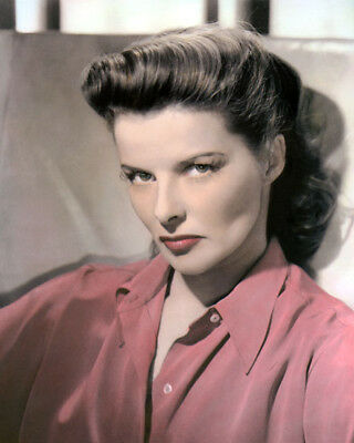 "KATHARINE HEPBURN FILM TELEVISION STAGE ACTRESS 8x10"" HAND COLOR TINTED PHOTO"
