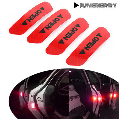 (4) Super Car Door Open Sticker Reflective Tape Safety Warning Decal RED USA