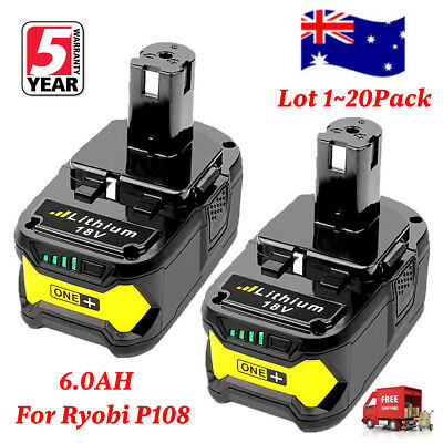 18V 6.0AH Li-ion Battery for RYOBI One+ RB18L25 RB18L50 P108 P107 P104 P780 P109