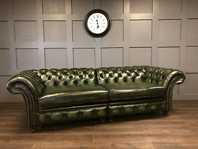 Handmade Antique Green Leather London Chesterfield Sofa Couch Chair 4 Seat Sofa