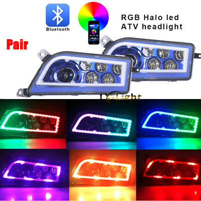 ATV RGB LED Cree Headlights Halo Angel Eyes For Polaris RZR 1000 XP RZR 900 & S