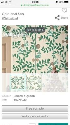 Bnib Cole And Son Secret Garden Wallpaper Whimsical 1 Roll Feature