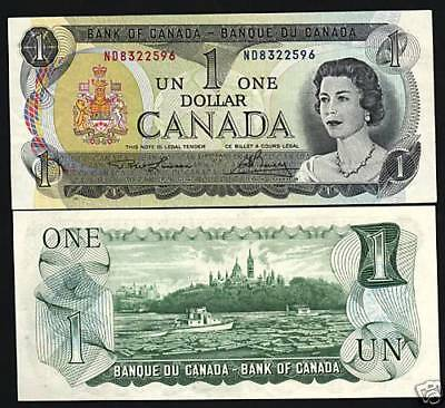 Canada 1 Dollar P85 A 1973 Young Queen Ship Unc Canadian Paper Money Bank Note