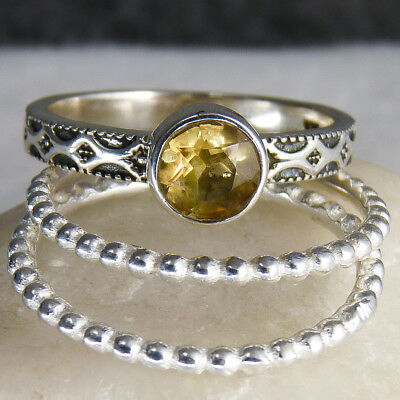 3-STACK Set US 8.75 SilverSari Rings w/GEM Solid 925 Stg Silver CITRINE STRL1015