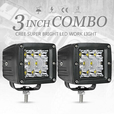 2x 3inch 80W CREE LED Cube Pods Work Light Bar Spot Flood Offroad Driving Lamp