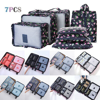 7 Pcs/Set Waterproof Clothes Storage Bags Packing Cube Travel Luggage Organizer