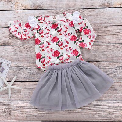 Toddler Infant Baby Girl Printed Romper Tops+Tutu Skirt Christmas Outfits Set