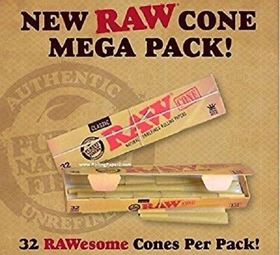 RAW Cones Classic King Size *Mega Pack* 32 Cones - Pre Rolled Rolling Papers