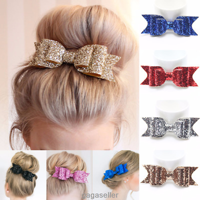 Women Girls Glitter Hairpin Bowknot Barrette Crystal Hair Clip Bow Gift 7 Colors