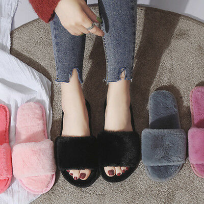 AU Women Ladies Soft Fluffy Plush Slippers Home Warm Antiskid Indoor Flat Shoes