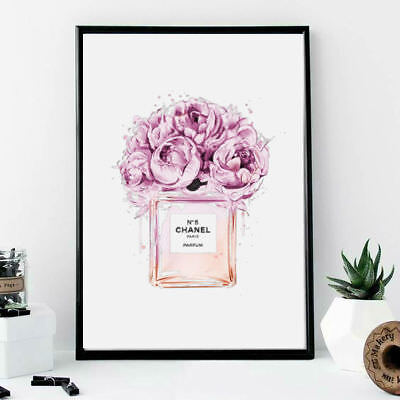 Wall print A4 art no5 Chanel perfume bottle with pink flowers fashion designer