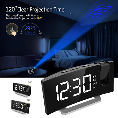 Mpow Projection Alarm Clock LED Dual Alarms 12/24Hour Projector FM Radio Curved
