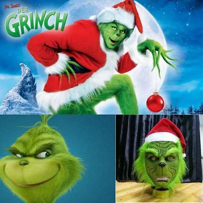 The Grinch Stole Mask With Hat Cosplay Adult Costume Helmet Christmas Party Prop