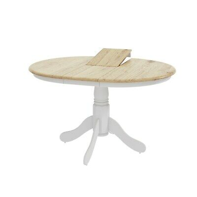 Extendable Round Wooden Dining Table In White Natural 6